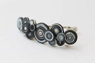 Iné šperky - Dúholínka  čierno biela klasika - spona do vlasov - 6928208_