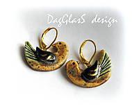 Náušnice - keramické náušnice...vtáctvo z kráľovskej záhrady... - 6927929_