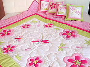 Textil - Prehoz s vážkami a vankúšiky - 6928037_