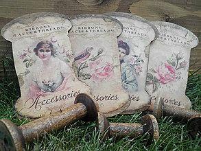 Dekorácie - Vintage dřevěná špulka plochá Šicí potřeby - 6928646_