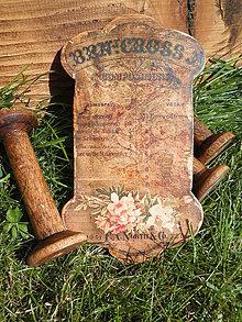 Dekorácie - Vintage dřevěná špulka plochá Victorian - 6929021_