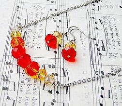 Sady šperkov - Red-Orange & Stainless Steel Set / Sada šperkov Swarovski Rondelle (Chirurgická oceľ) - 6931902_