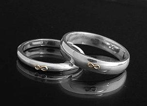 Prstene - 14k zlaté, 925 strieborné snubné prstene Infinity,obrúčky - 6931080_