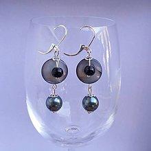 Náušnice - Sivá perleť - 6930145_
