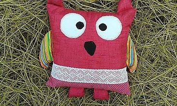 Textil - Sova sovatá v ružovom 2- vankúš - 6931965_