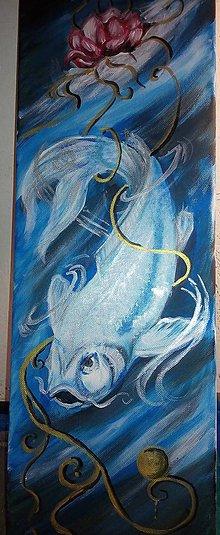 Obrazy - zlatá biela rybka - 6930208_