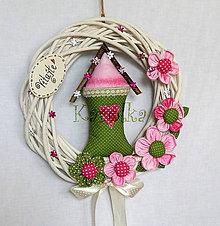 Dekorácie - Venček (na dvere - V ružovom sade) - 6935051_