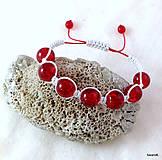 Náramky - Červený makrame náramok vodeodolný - 6935362_