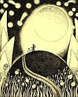 Kresby - Obraz S měsícem - fotokopie na desce - 6934771_