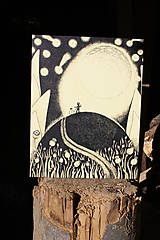 Kresby - Obraz S měsícem - fotokopie na desce - 6934772_