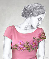Tričká - Maľované tričko s kvetmi pivonky - PaeoniaII - 6933861_