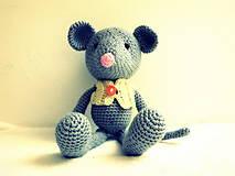 Hračky - háčkovaný myšiak Amos - 6933606_