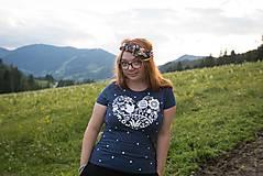 Tričká - Dámske tričko modré melírové VIERA, NÁDEJ, LÁSKA - 6933918_