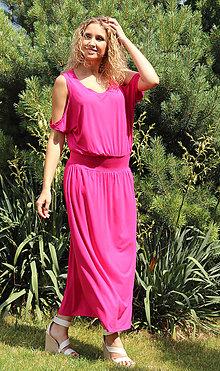 Šaty - Růžové šaty s volnými rameny - 6937058_