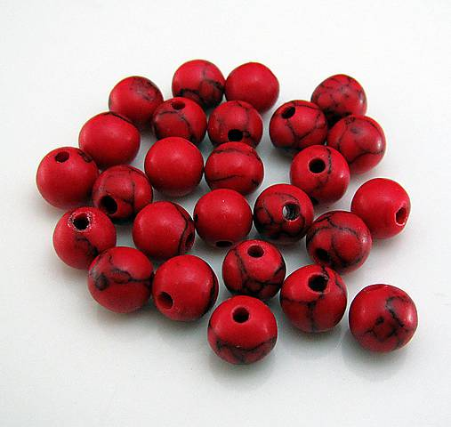 Červený tyrkys 6mm / polodrahokam