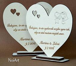 Darčeky pre svadobčanov - Poďakovanie rodičom srdiečko - novomanželia - 6939435_