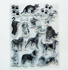 Pomôcky/Nástroje - Silikónové razítka, pečiatky - 14x18 cm - pes, mačka, kosť - 6937308_