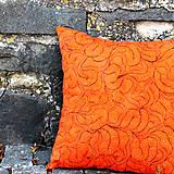 Úžitkový textil - Polštář oranžovo-černý - 6937654_