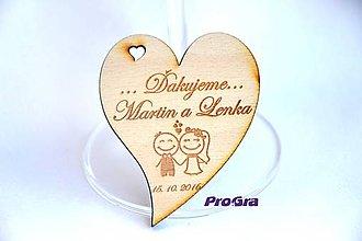 Darčeky pre svadobčanov - Drevená magnetka - Minisrdiečko - Ďakujeme 2G - Akciová cena - 6937331_