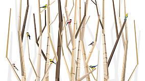 Grafika - Veľký les a rôznorodé vtáctvo - formát na výšku - 6938580_