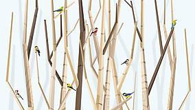 Grafika - Veľký les a rôznorodé vtáctvo (modré) - výšku - 6938623_