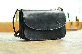 Kabelky - kožená kabelka TRIXY double čierna lesk - 6939958_