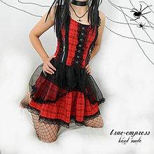 Šaty - Červené gothické punkové kárované šaty - 6940386_