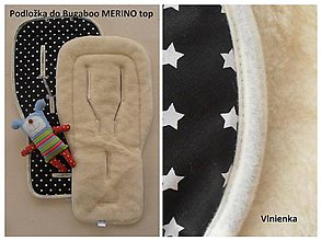 Textil - Podložka do kočíka BUGABOO Merino black and white - 6942421_