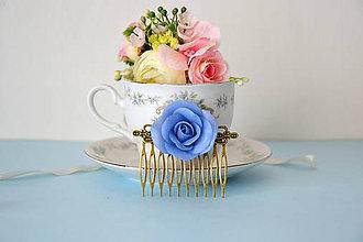 Iné šperky - Modrá ruža, hrebienok - 6941003_