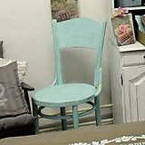 Nábytok - Mentolková stolička s patinou - predaná - 6940546_