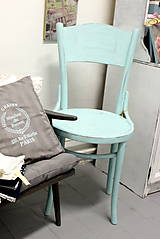 Nábytok - Mentolková stolička s patinou - predaná - 6940547_