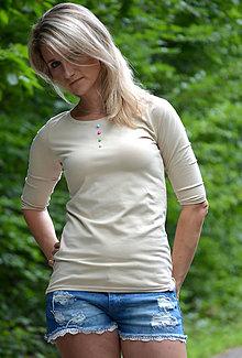 Tričká - Béžové tričko s knoflíčky-vyberte si svou barvu! - 6942557_