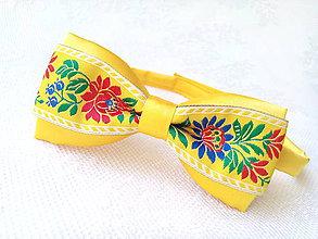 Doplnky - Slovak folklore bow tie (yellow) - 6946826_