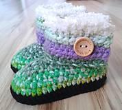Topánočky - Zelené melírované čižmičky - 6945466_