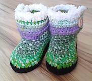 Topánočky - Zelené melírované čižmičky - 6945467_