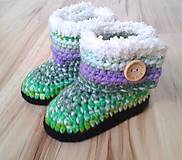 Topánočky - Zelené melírované čižmičky - 6945468_