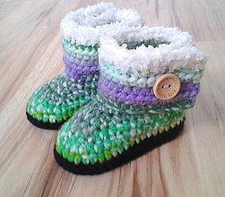 ecc154701e Topánočky - Zelené melírované čižmičky - 6945468