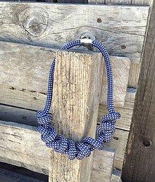 Náhrdelníky - Náhrdelník lano modrá bodka - 6945872_