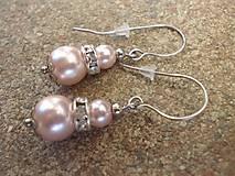 náušnice ružové perly