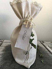 Úžitkový textil - Ľanové vrecúška z ručne tkaného ľanu s meniteľnými menovkami BYLINKÁČ - 6947162_