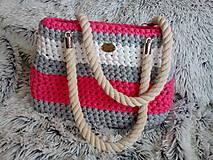 Kabelky - Háčkovaná taška šedobieloružová- kabelka - 6945894_