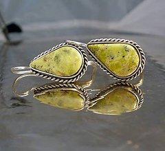 Náušnice - serpentínové slzy - vintage - ag 925 - 6948811_