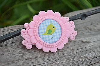 Odznaky/Brošne - Brožička Růžová sladká Cute Bird - 6948266_