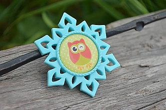 Odznaky/Brošne - Brošnička Mentolová Cute Owl - 6948329_