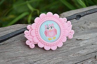 Odznaky/Brošne - Brošnička Růžová sladká Cute Owl - 6948372_