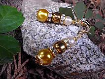 pozlátené náušnice - zlaté perly