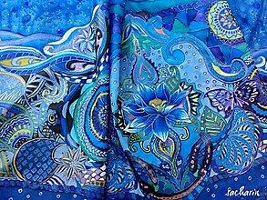 Šály - Hodvábny šál zentangle- Kvetinový vietor - 6948475_