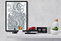 Grafika - Oheň - Živý život živlov - čiernobiela ilustrácia / maľovanka - 6948043_