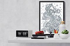 Grafika - Voda - Živý život živlov - čiernobiela ilustrácia / maľovanka - 6948049_
