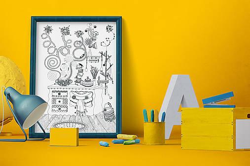 Voňavá kuchyňa - Čaro domova - čiernobiela ilustrácia / maľovanka